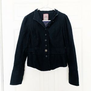 Free People Black Denim Long Wide Sleeve Jacket